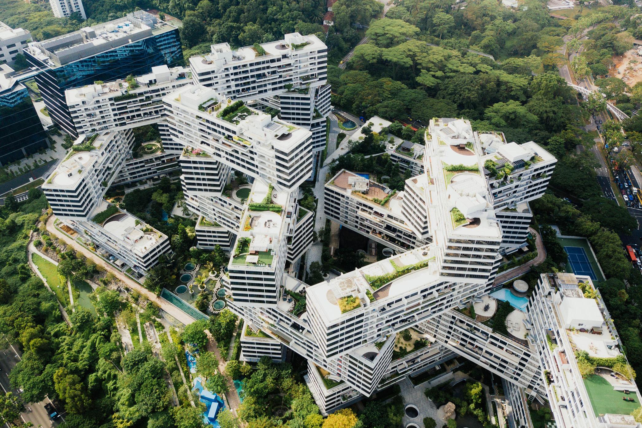 Vue aérienne d'une ville végétalisme