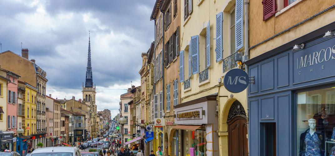Vue du centre-ville de Villefranche-sur-Saône